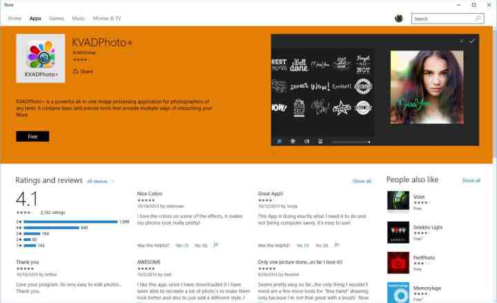 Clicking on a suggestion opens it in the Windows Store.