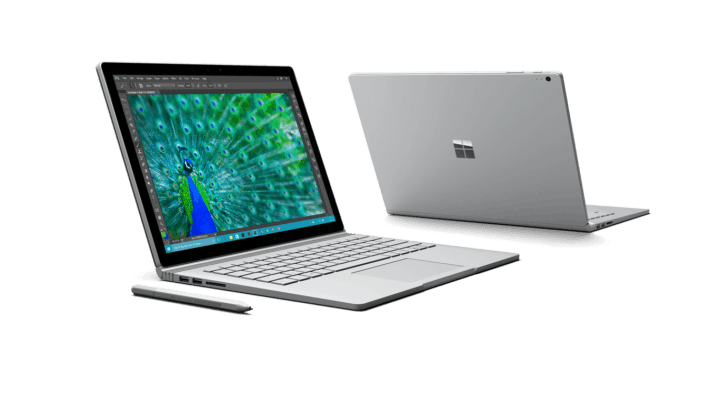 Surface Book side and rear views.