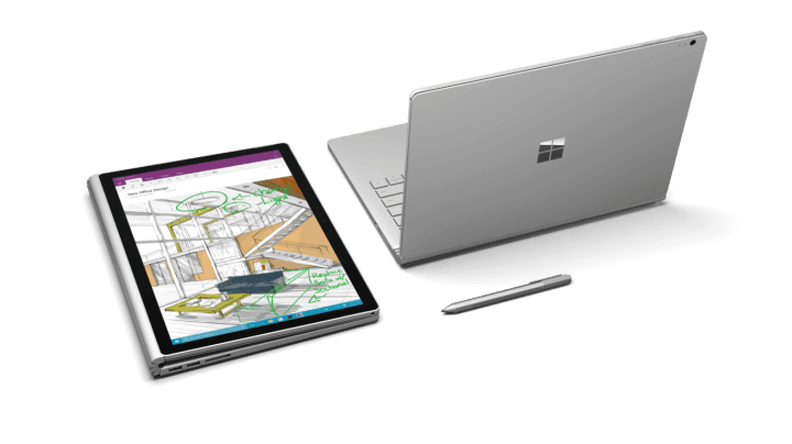 Surface Book folded and rear views.