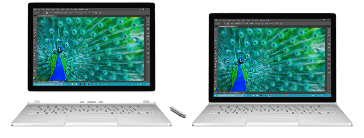 Surface Book attached and detached views.