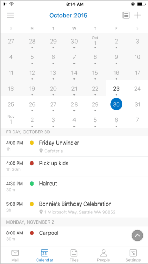 Calendar navigation is more dynamic and with more differentiation between the past, present, and future.