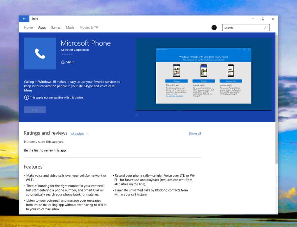Microsoft Phone app appears in the Windows Store for Windows 10