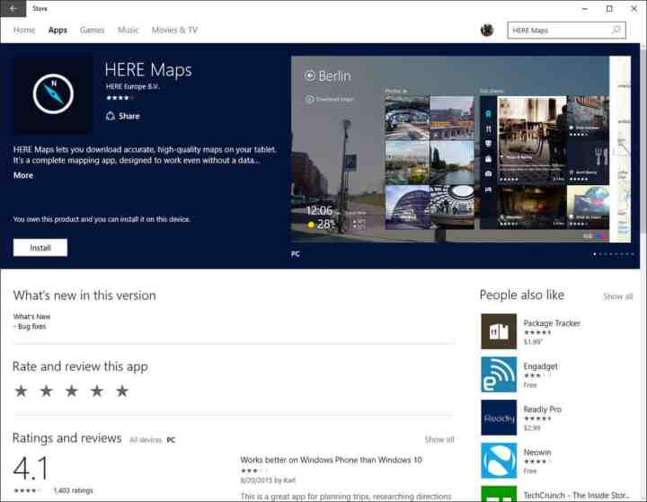 HERE Maps Windows 10 Store listing.