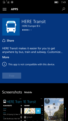 HERE Transit Windows 10 Mobile Store listing.