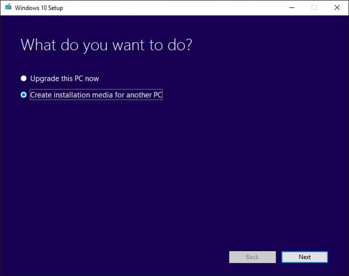 "Select ""Create installation media for another PC."""