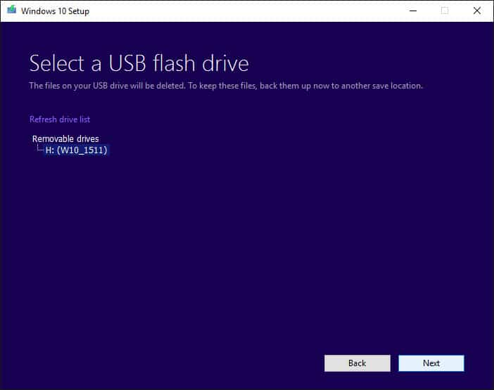 Make sure the right USB flash drive is selected.