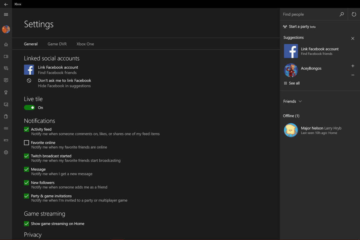 Xbox app for Windows 10 update adds Facebook Friend Finder
