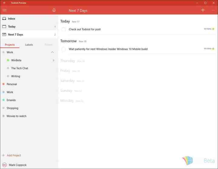 Todoist weekly view. Everything is clean and simple.