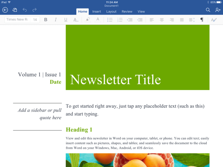 Word Mobile on iOS enables some light editing, and that's about it.