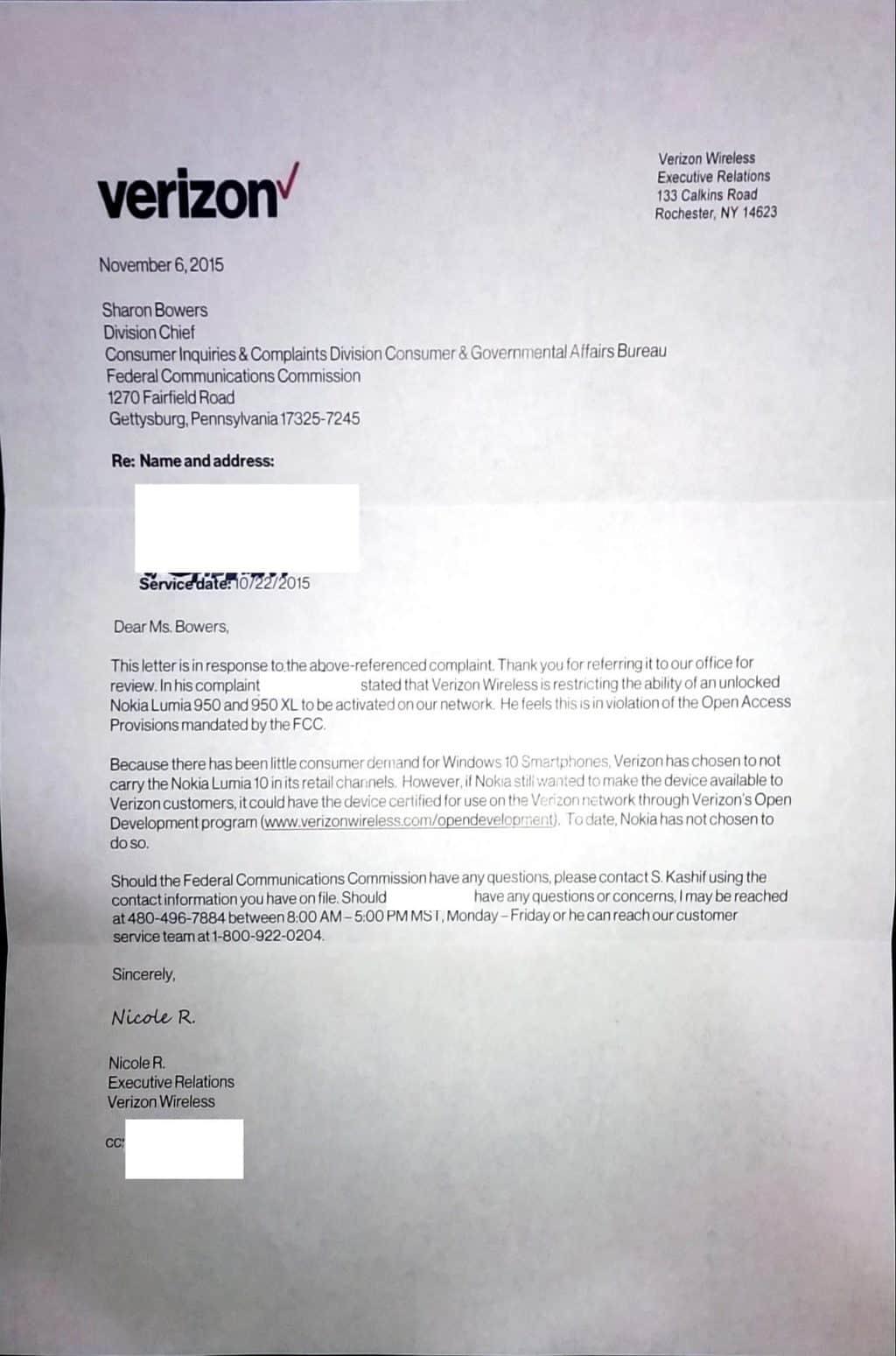 Verizon FCC complaint
