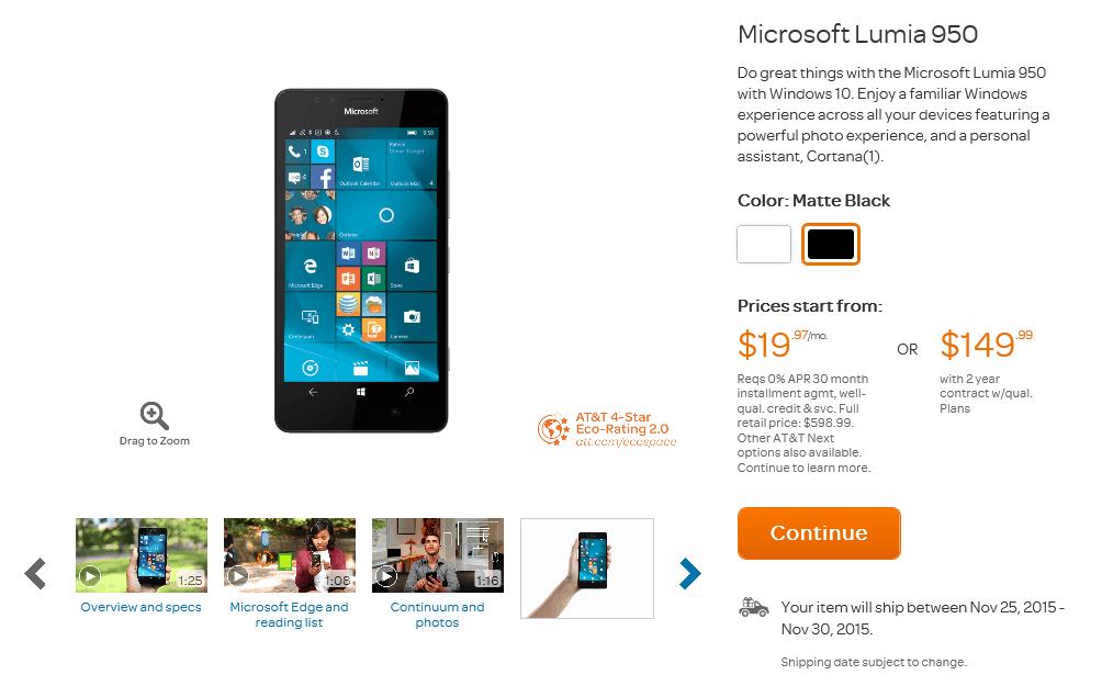 lumia 950 att nov 25