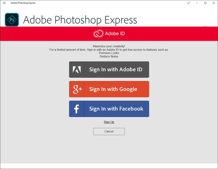 Adobe Photoshop Express login options