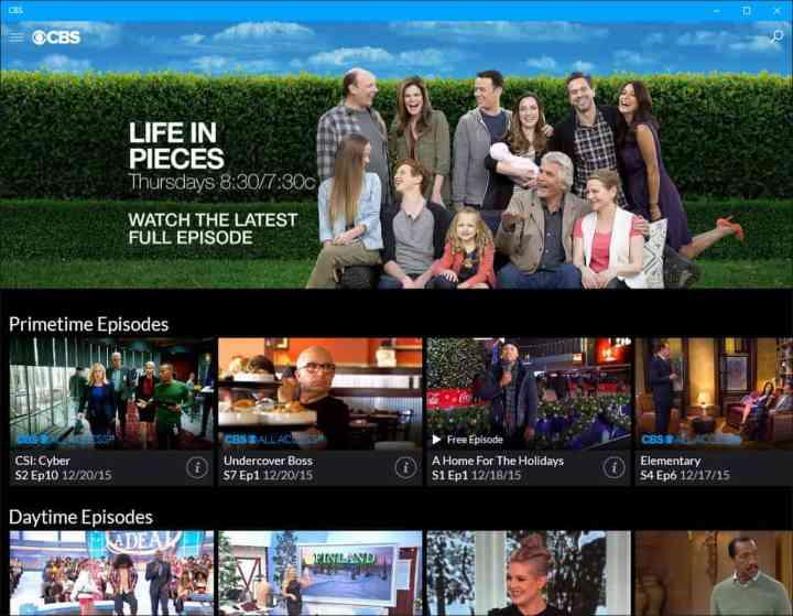CBS Windows 10 App