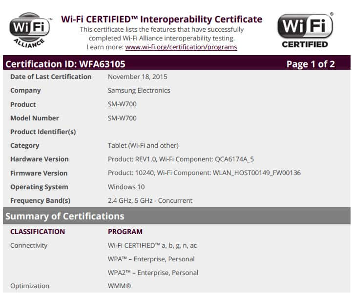 Samsung Tablet WiFi Cert Page 1