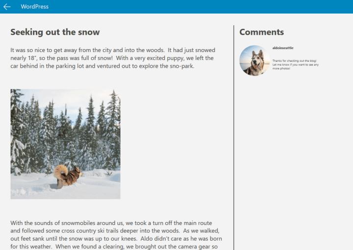 Windows App Studio Beta Update WordPress Template
