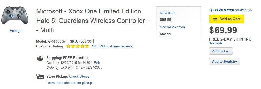 Xbox One Limited Edition Halo 5 Guardians Wireless Controller Best Buy Listing