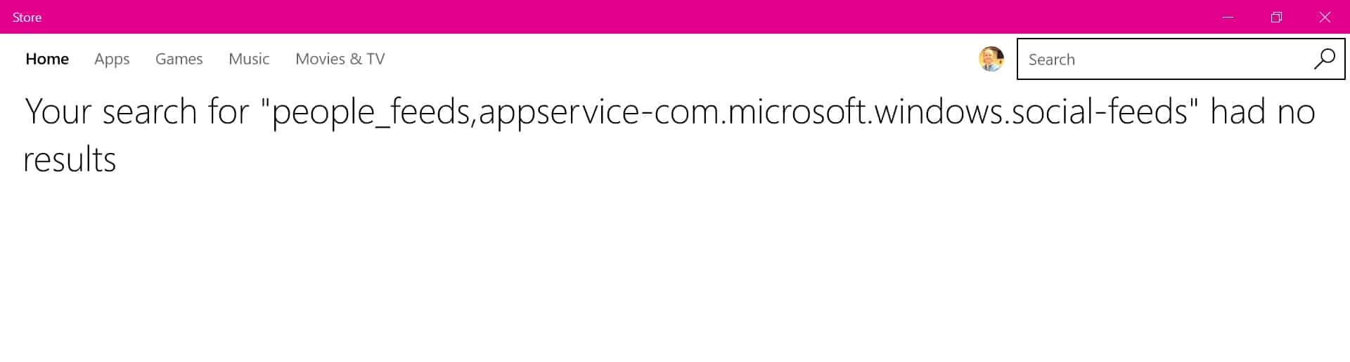 Windows 10 People App Error Message