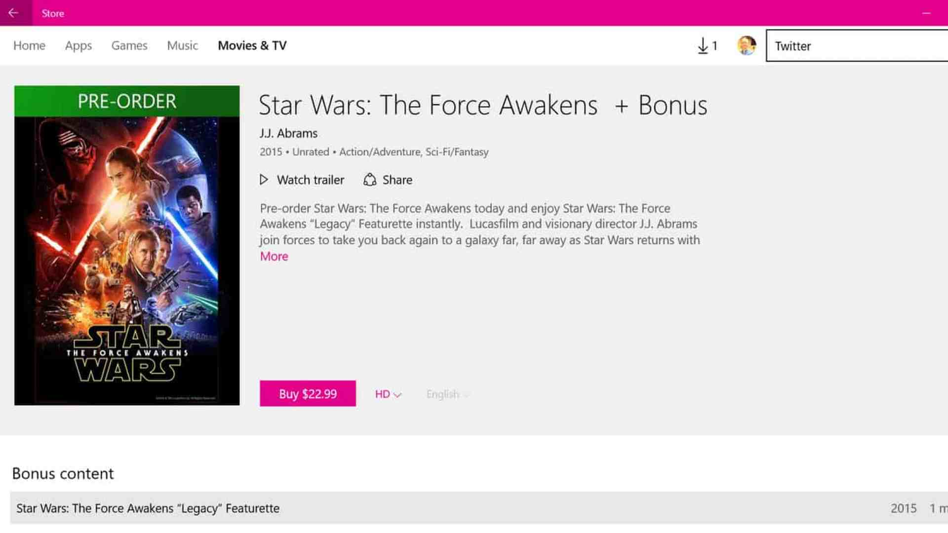 Star Wars: The Force Awakens in the Films & TV app on Windows 10