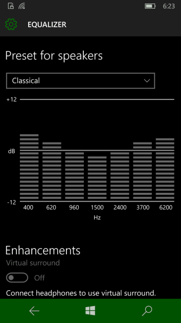 Choose your windows 10 mobile equalizer sound mode.