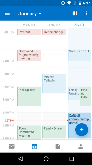 Outlook iOS Android Material Design