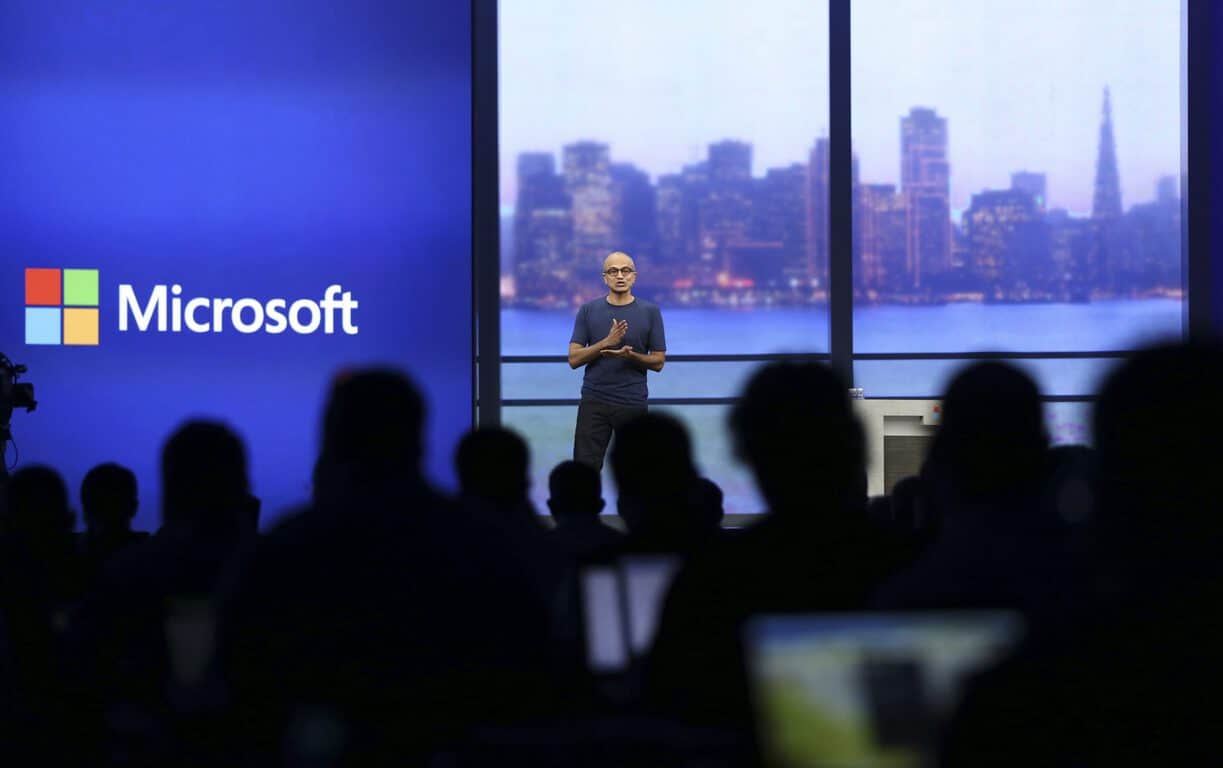 "Microsoft CEO Satya Nadella speaks during his keynote address at the company's ""build"" conference in San Francisco, California April 2, 2014. REUTERS/Robert Galbraith"