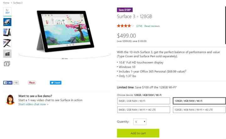 Surface 3 $100 Off