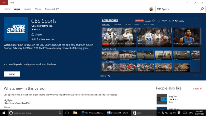 Built for Windows 10 text in Windows Store