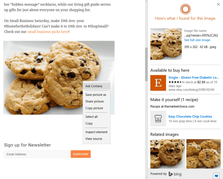 "Bing Image Search Ask Cortana"""