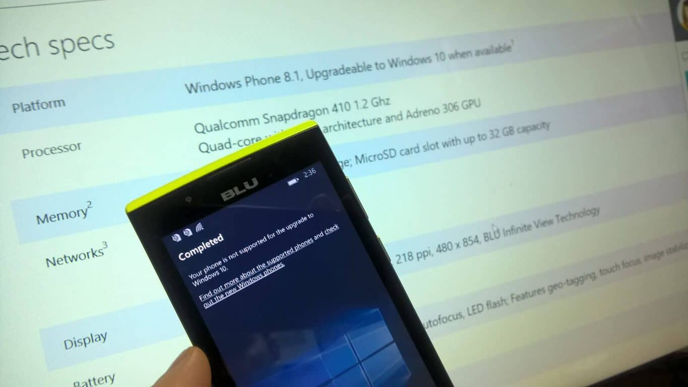 Blu Win Jr LTE Windows 10 Mobile Upgradeable UpdateAdvisor