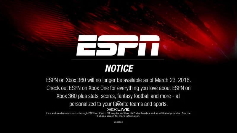 ESPN Xbox 360 app support
