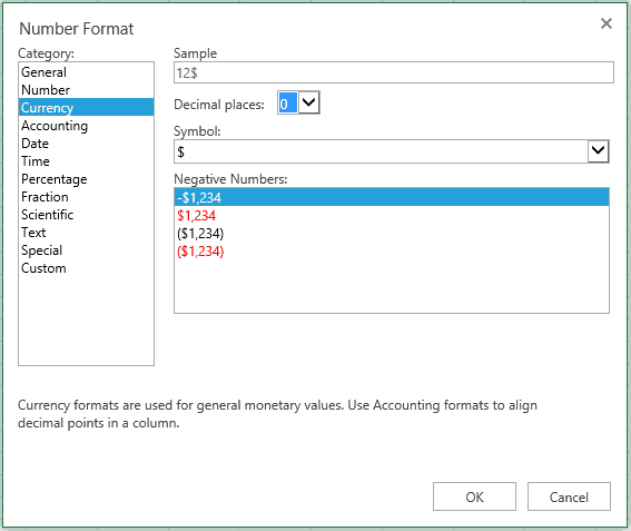 The Number Format dialog has the same options as the Excel desktop app.