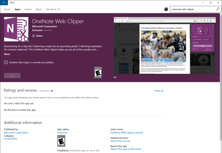 OneNote Web Clipper extension shows up for Windows 10