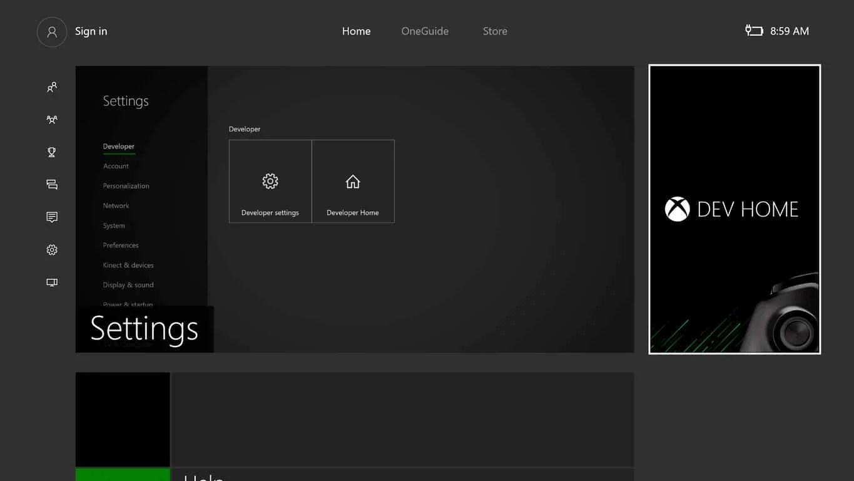 Dev Mode on Xbox One
