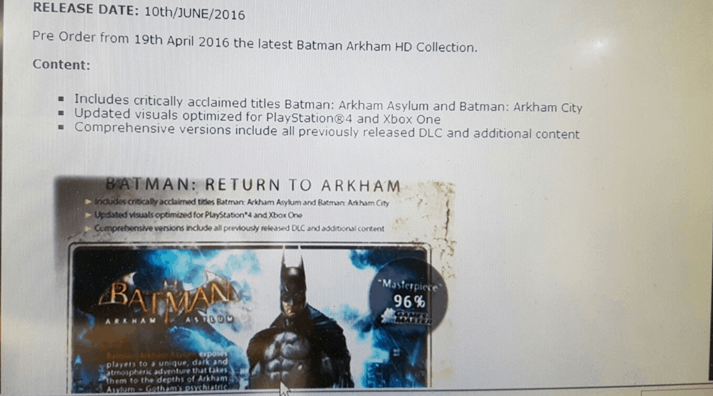 The picture of the Batman Arkham HD Collection supposedly taken by a Gamestop employee.