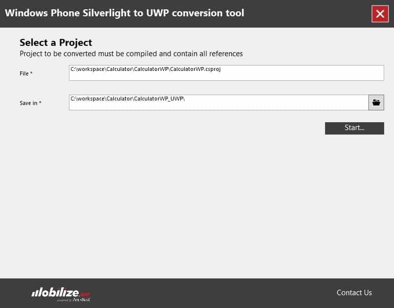 The Silverlight to USP conversion tool is very simple to use.