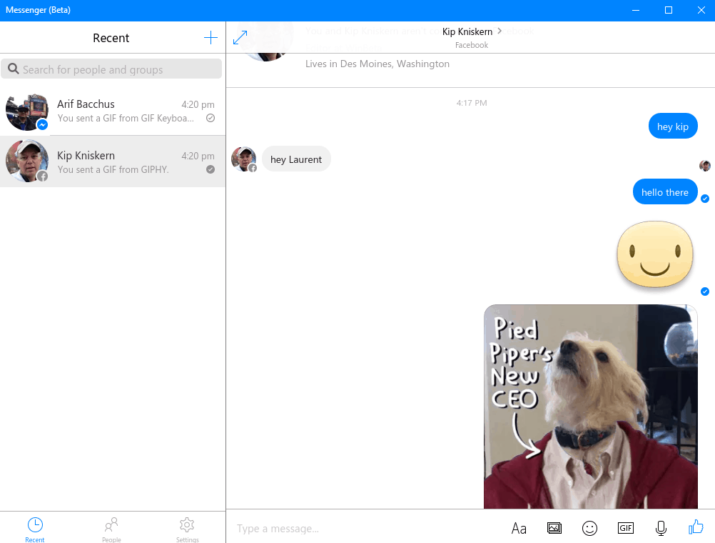 You can send stickers, gifs and voice messages.