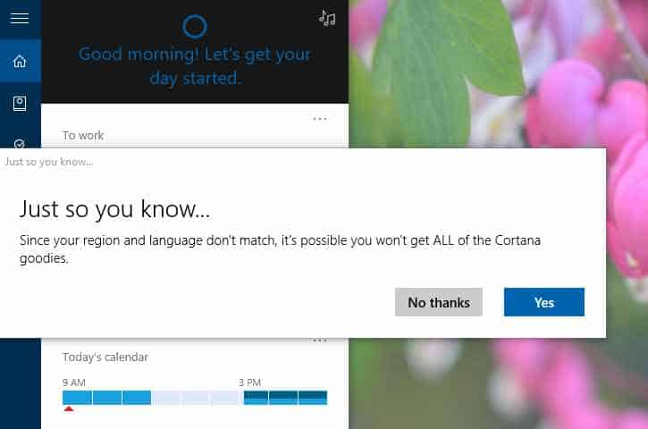 Cortana region settings