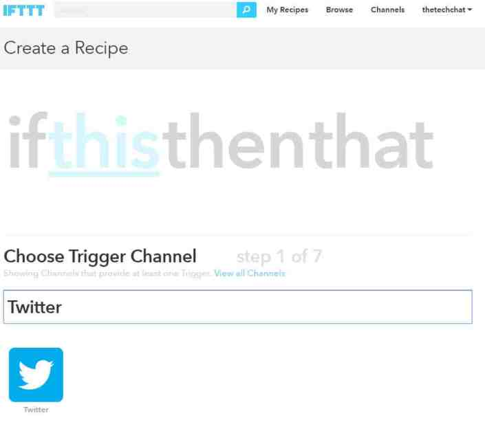 Next, choose a Trigger Channel. In this case, I chose Twitter.