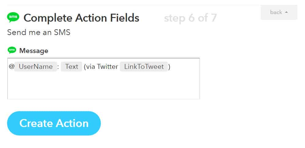 Complete the Action by specifying what you want included. In this case, I want an SMS message with Gabe's tweet.