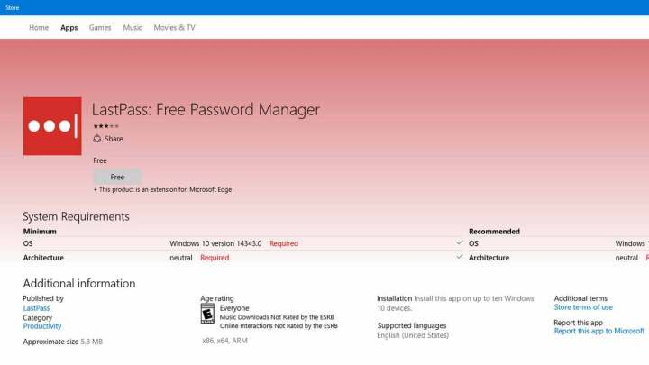 The LastPass Edge extension initially required Windows 10 version 14343.