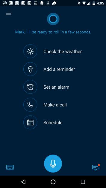 New Cortana startup screen