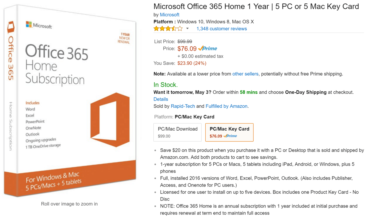 Office 365 on sale for $76 09 for a year at Amazon OnMSFT com