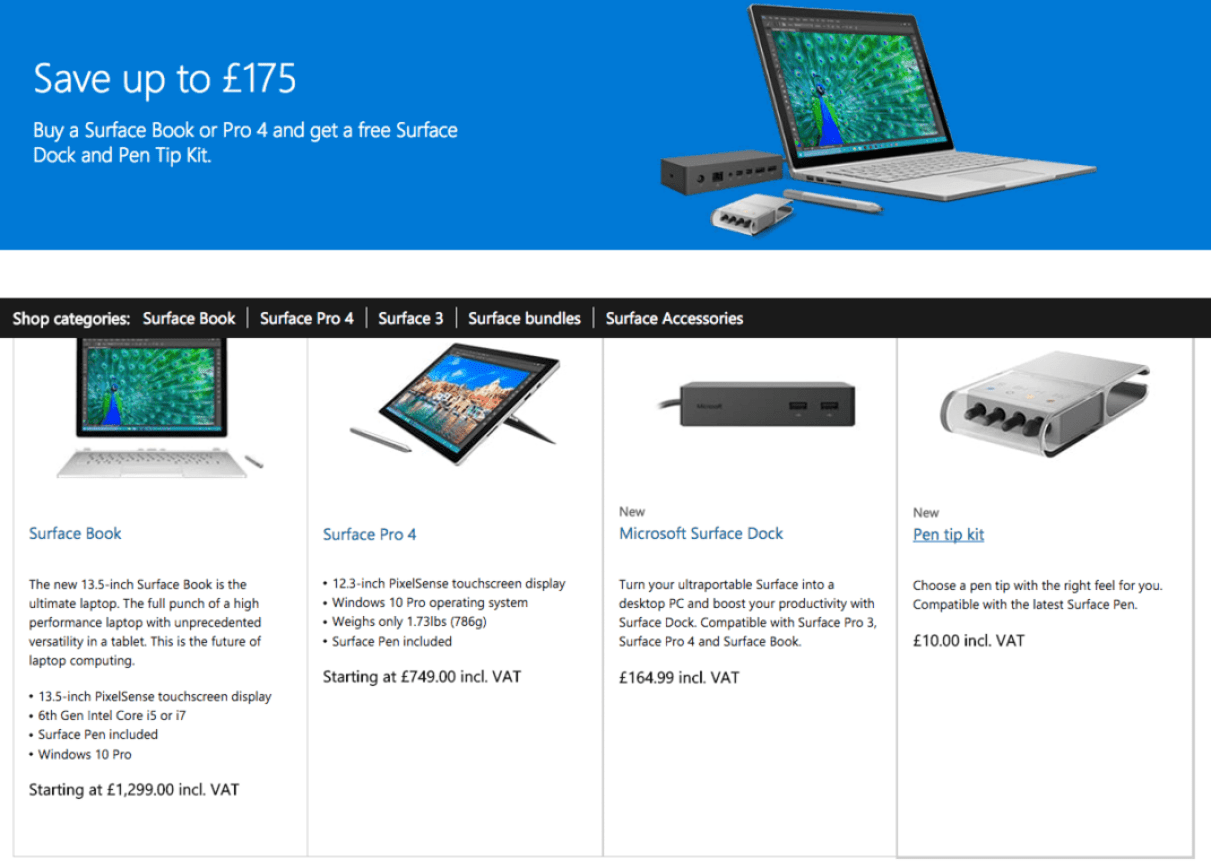Get a free Surface Dock and Pen Tip Kit when you buy an SP4