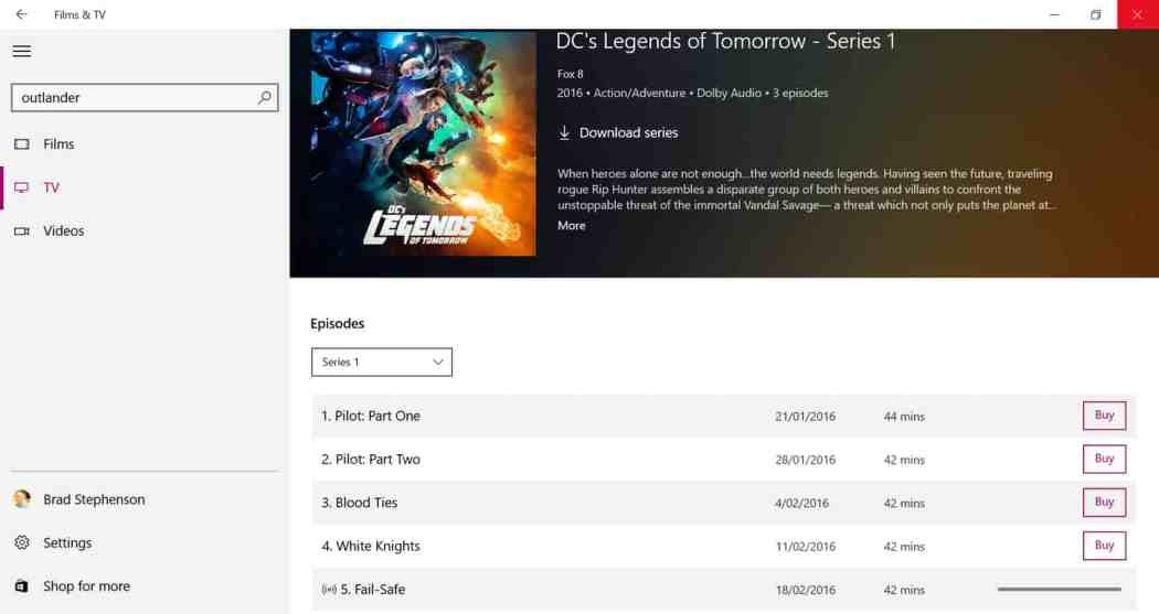Movies & TV app in Windows 10