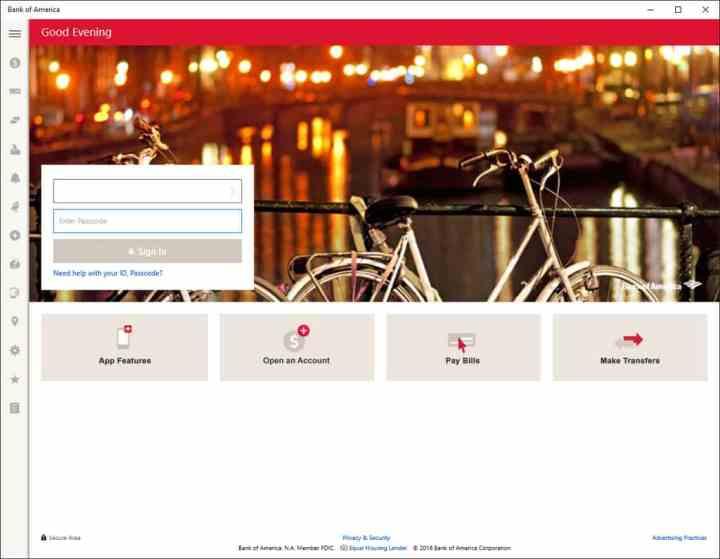 BoA app opening screen.