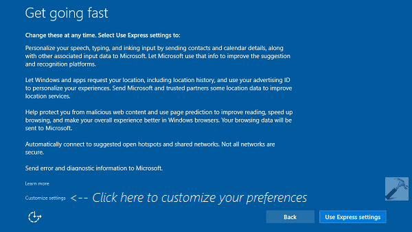 Windows 10 Express Settings