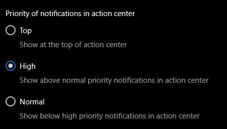 Windows 10 Action Center, notifications priority