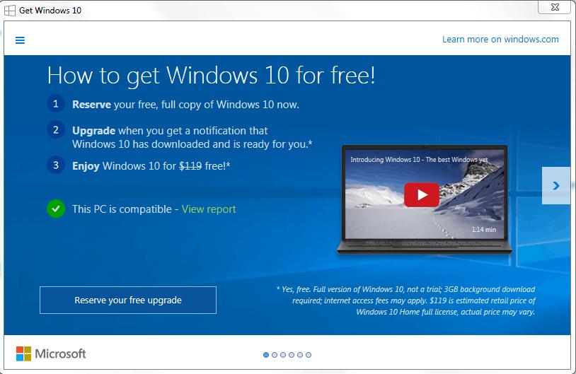 Windows 10 upgrade alert