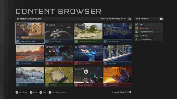 The new Content Browser in Halo 5: Guardians.