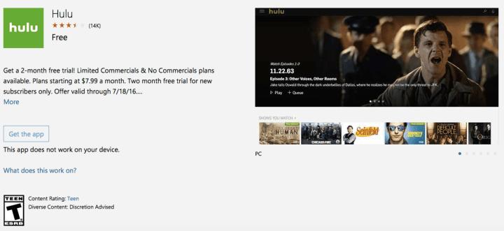 Hulu Windows 10 Desktop App